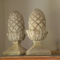 pair small carved limestone finials