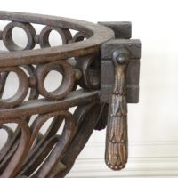 a regency wrought iron fire basket with bronze mounts
