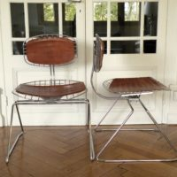 4 chromed metal  and leather chairs  by michel cadestin from the pompidou library  1970