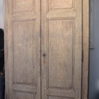 large french  19th century wardrobe with original crackled paint