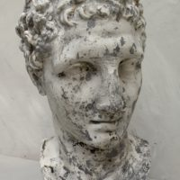 plaster bust of hermes - with metal stamp- louvre plaster workshops