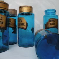 set 10 french apothecary jars - hand blown blue glass and tole lids