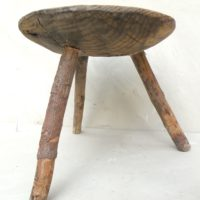 small savoyarde milking stool with carved handle